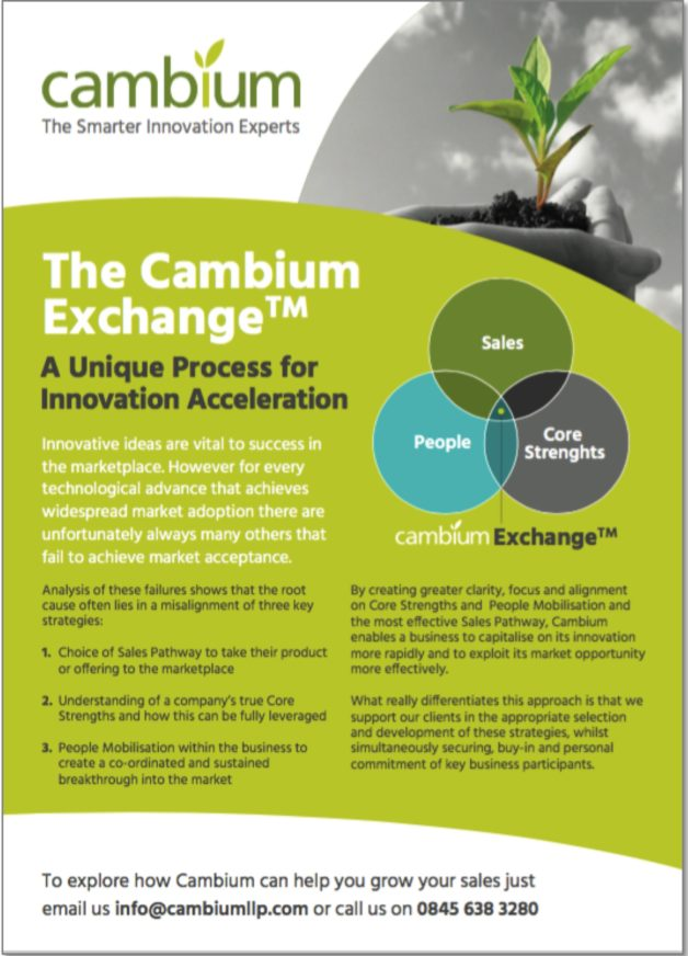 The Cambium Exchange enables accelerated sustainable growth of an early stage busines by creating alignment of core strengths, people & business strategy.